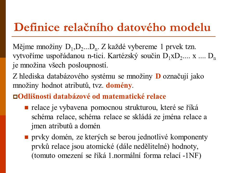 Definice relačního datového modelu