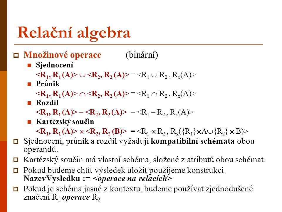 Relační algebra Množinové operace (binární)