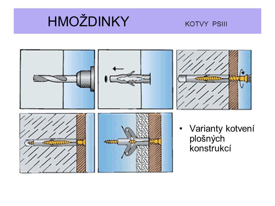 HMOŽDINKY KOTVY PSIII Varianty kotvení plošných konstrukcí