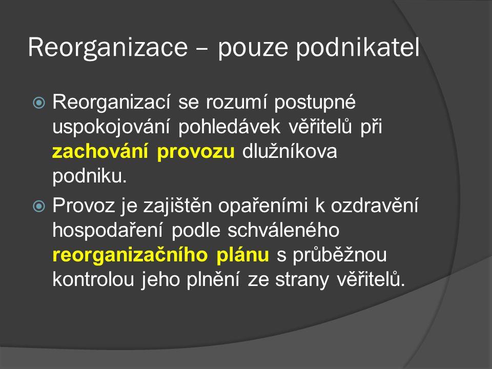 Reorganizace – pouze podnikatel