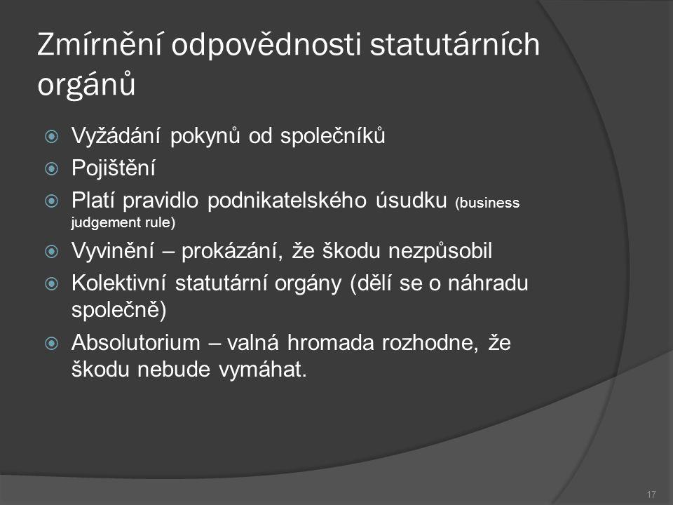 Zmírnění odpovědnosti statutárních orgánů