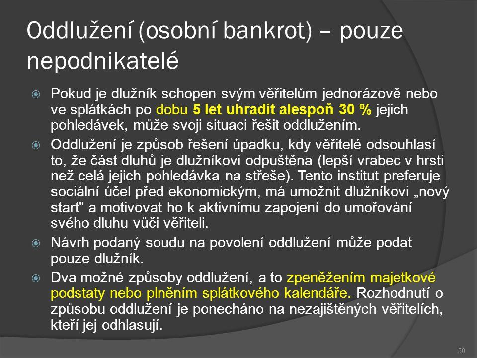 Oddlužení (osobní bankrot) – pouze nepodnikatelé