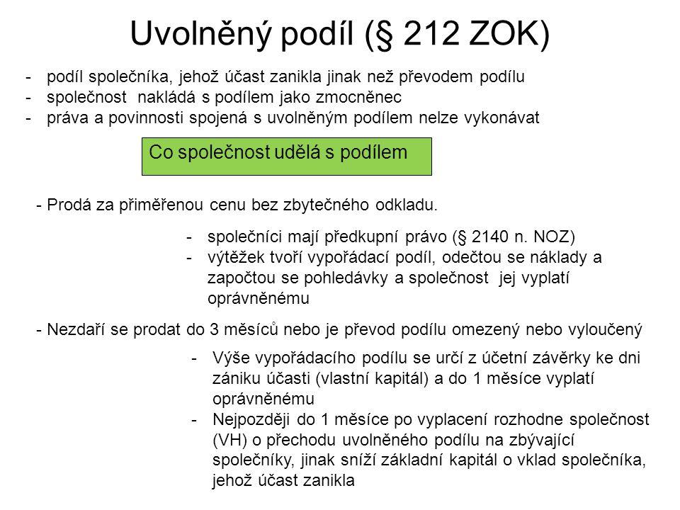 Uvolněný podíl (§ 212 ZOK) Co společnost udělá s podílem
