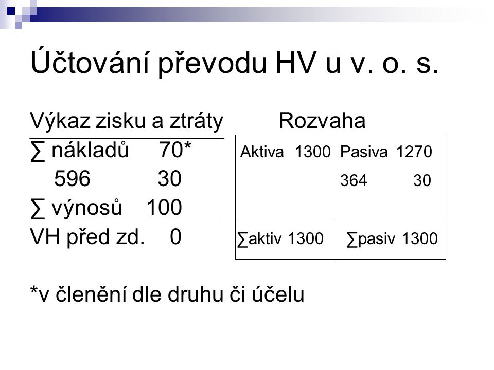 Účtování převodu HV u v. o. s.