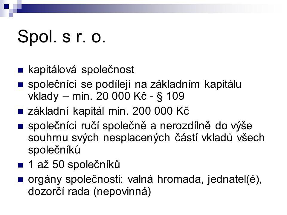 Spol. s r. o. kapitálová společnost