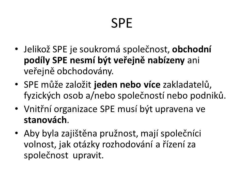 SPE Jelikož SPE je soukromá společnost, obchodní podíly SPE nesmí být veřejně nabízeny ani veřejně obchodovány.