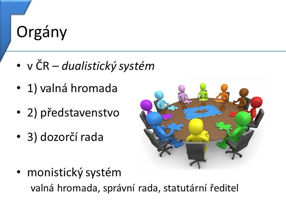 Orgány v ČR – dualistický systém 1) valná hromada 2) představenstvo