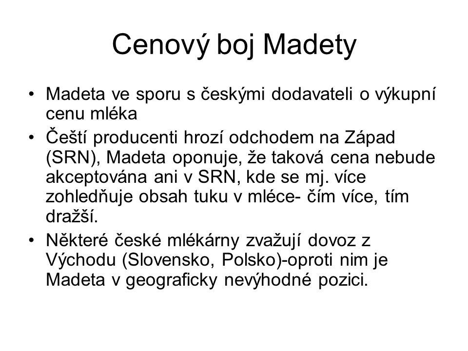 Cenový boj Madety Madeta ve sporu s českými dodavateli o výkupní cenu mléka.