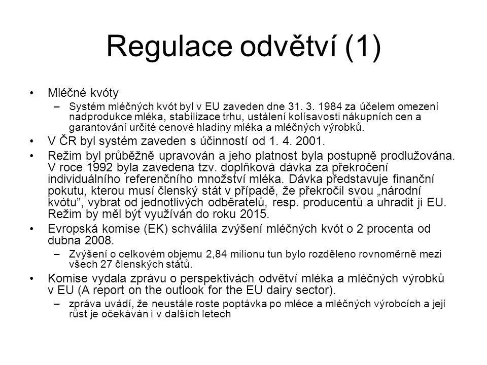 Regulace odvětví (1) Mléčné kvóty