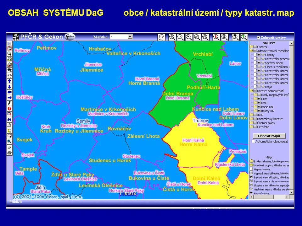 OBSAH SYSTÉMU DaG obce / katastrální území / typy katastr. map