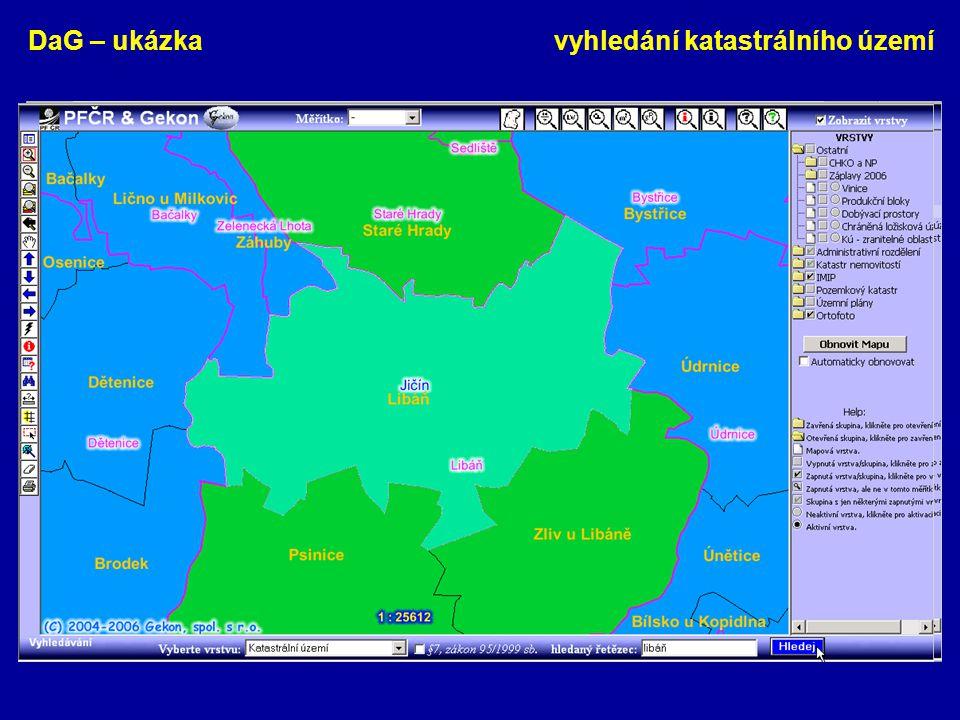 DaG – ukázka vyhledání katastrálního území