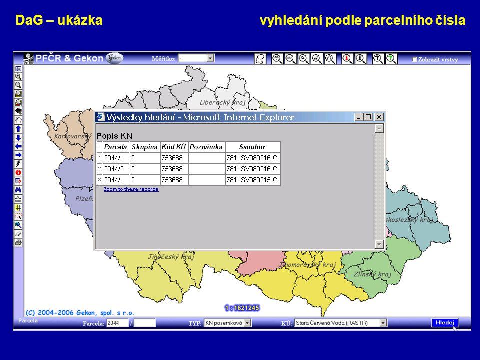 DaG – ukázka vyhledání podle parcelního čísla