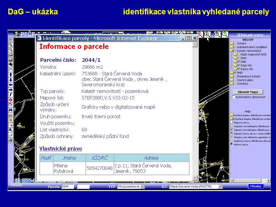 DaG – ukázka identifikace vlastníka vyhledané parcely