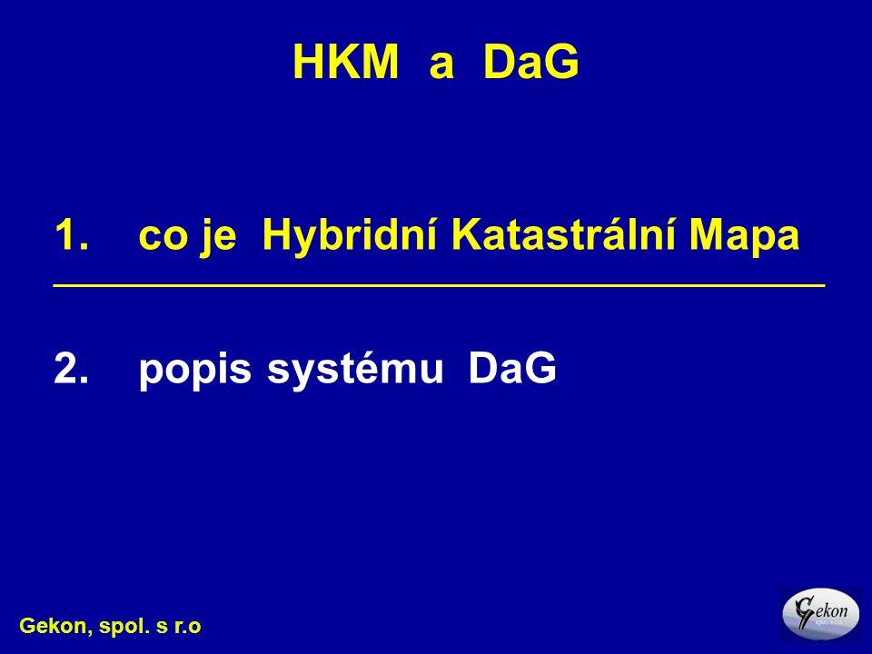 HKM a DaG 1. co je Hybridní Katastrální Mapa 2. popis systému DaG