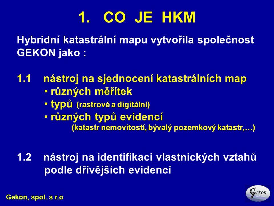 1. CO JE HKM Hybridní katastrální mapu vytvořila společnost GEKON jako : 1.1 nástroj na sjednocení katastrálních map.