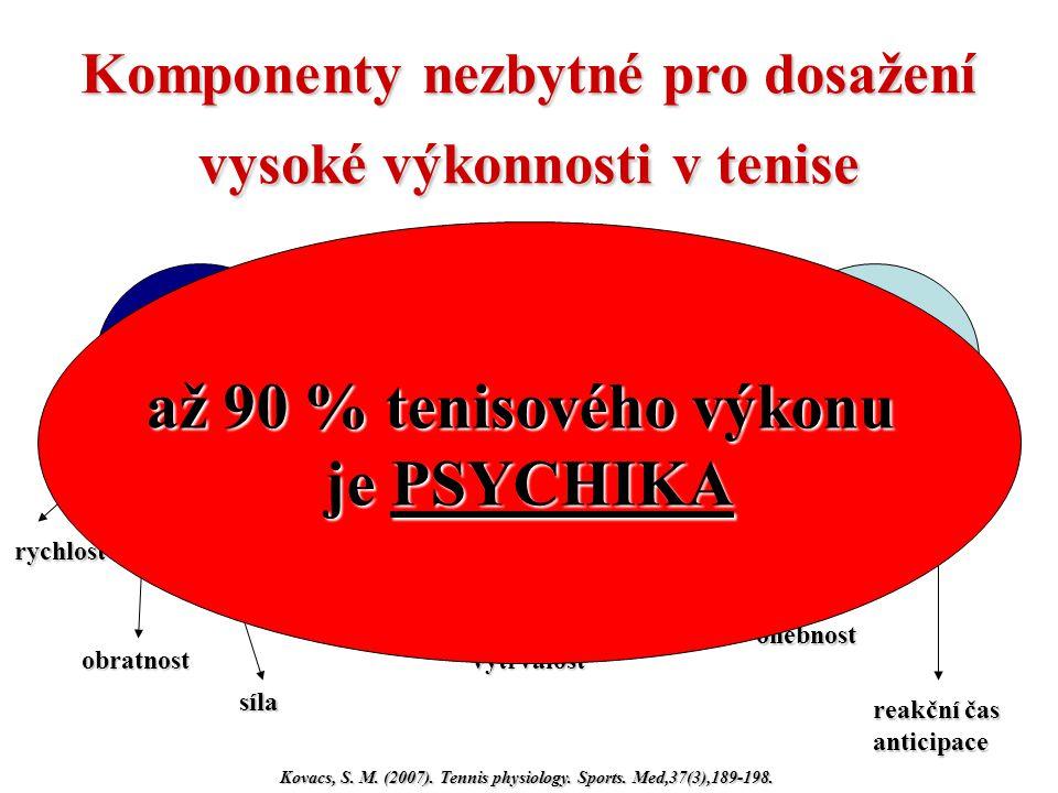 Komponenty nezbytné pro dosažení vysoké výkonnosti v tenise