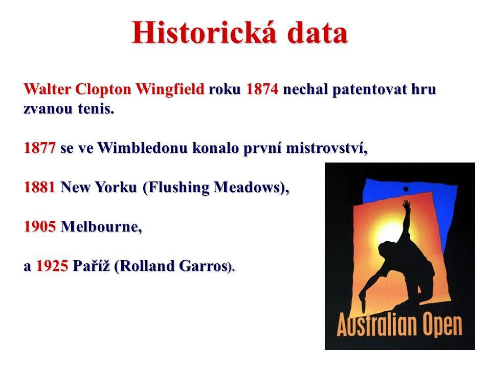 Historická data Walter Clopton Wingfield roku 1874 nechal patentovat hru zvanou tenis. 1877 se ve Wimbledonu konalo první mistrovství,