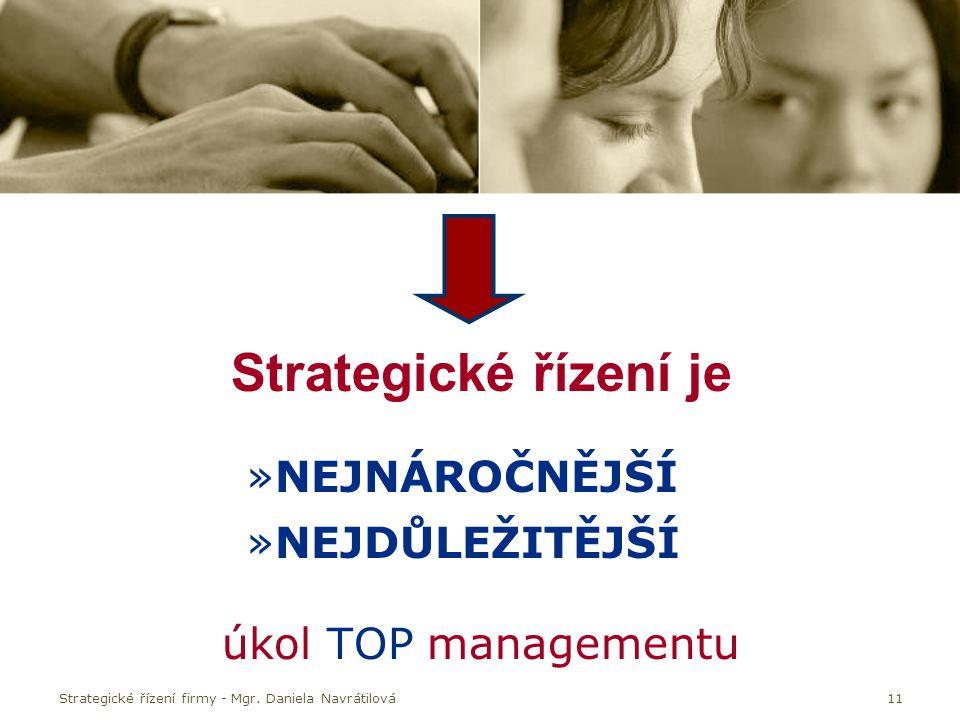 Strategické řízení je NEJNÁROČNĚJŠÍ NEJDŮLEŽITĚJŠÍ