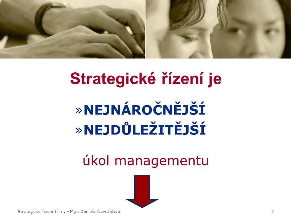 Strategické řízení je NEJNÁROČNĚJŠÍ NEJDŮLEŽITĚJŠÍ úkol managementu