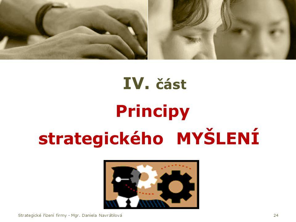 IV. část Principy strategického MYŠLENÍ