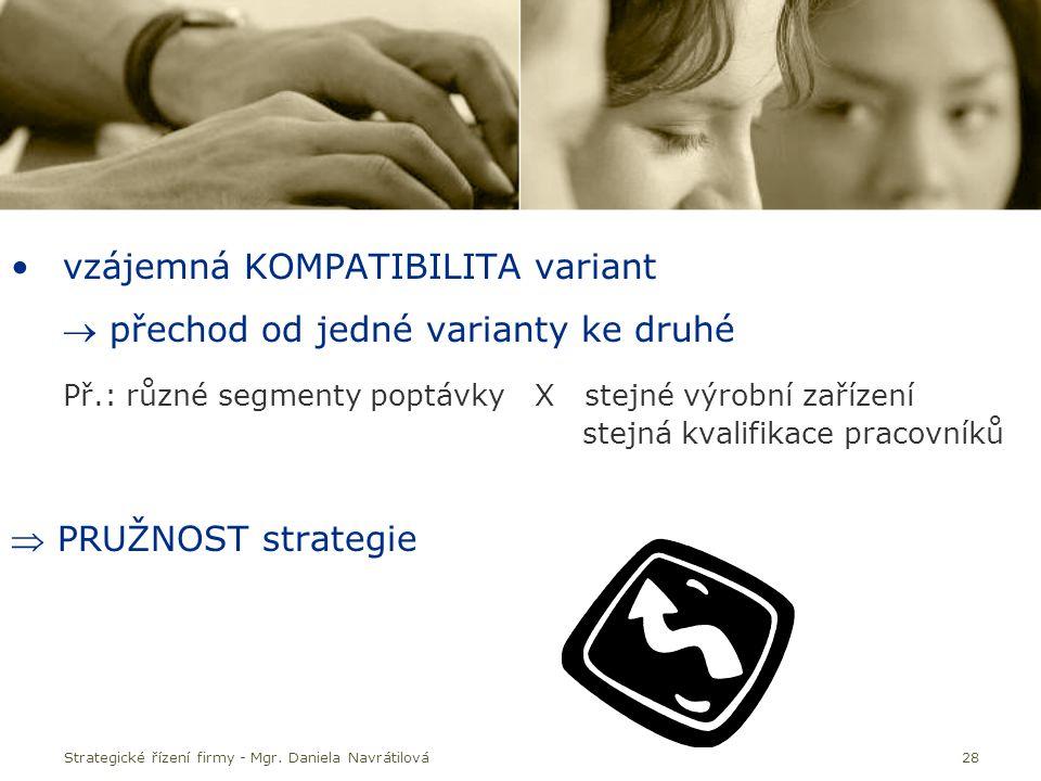 vzájemná KOMPATIBILITA variant  přechod od jedné varianty ke druhé