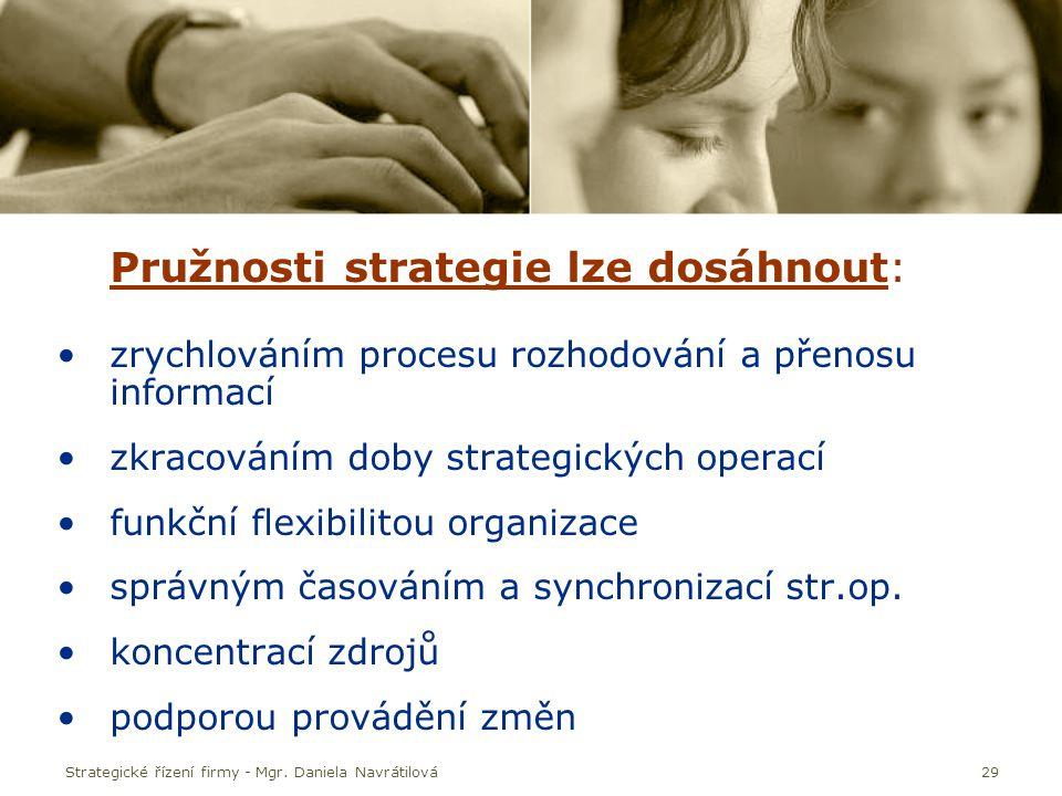 Pružnosti strategie lze dosáhnout: