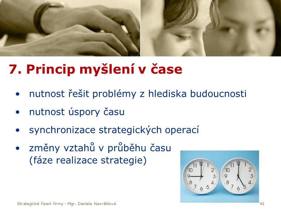 7. Princip myšlení v čase nutnost řešit problémy z hlediska budoucnosti. nutnost úspory času. synchronizace strategických operací.