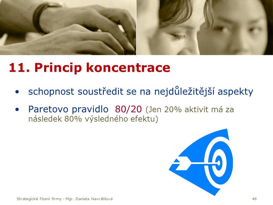 11. Princip koncentrace schopnost soustředit se na nejdůležitější aspekty.