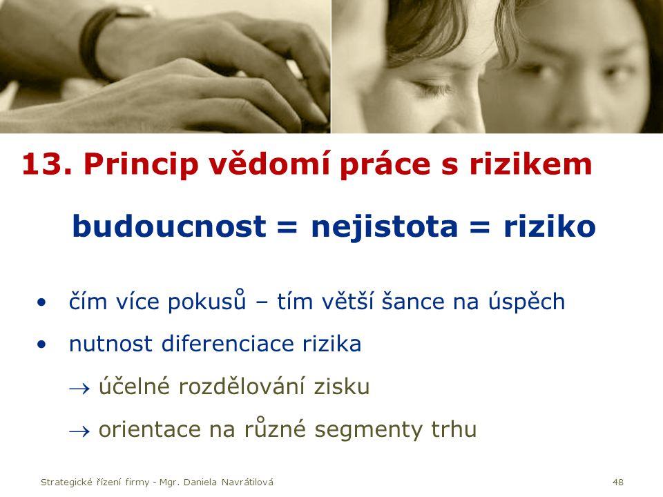 13. Princip vědomí práce s rizikem