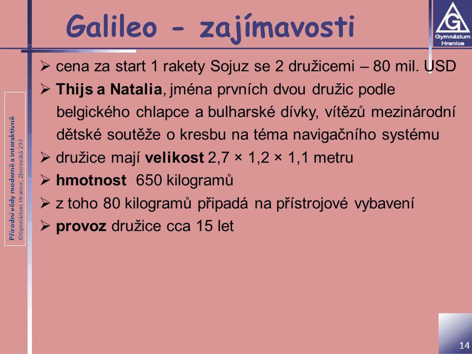 Galileo - zajímavosti cena za start 1 rakety Sojuz se 2 družicemi – 80 mil. USD. Thijs a Natalia, jména prvních dvou družic podle.