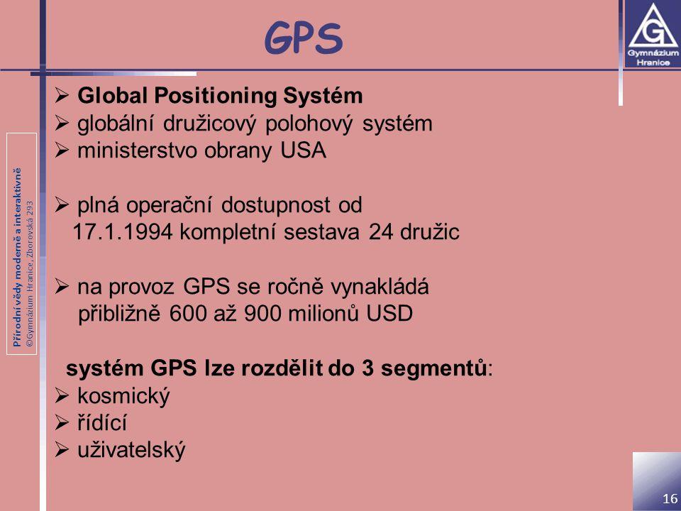 GPS Global Positioning Systém globální družicový polohový systém