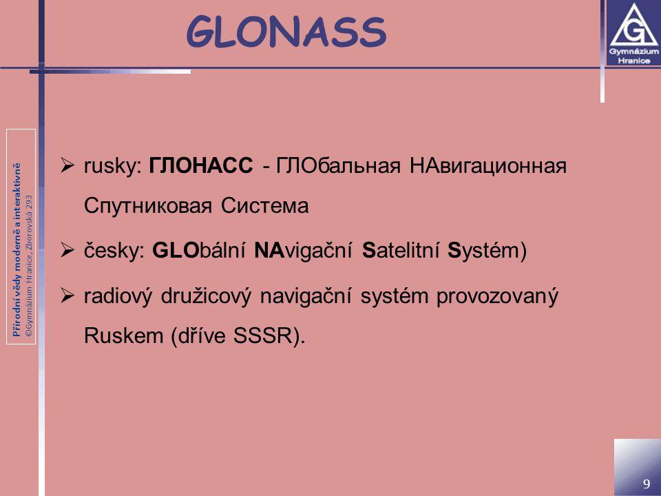 GLONASS rusky: ГЛОНАСС - ГЛОбальная НАвигационная Спутниковая Система