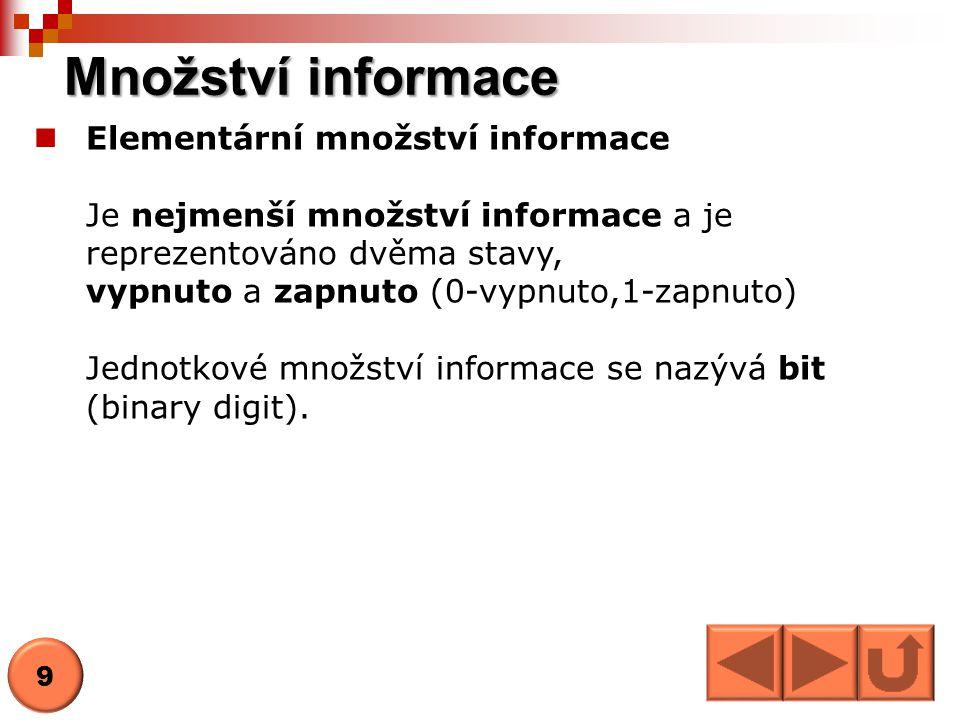 Množství informace Elementární množství informace