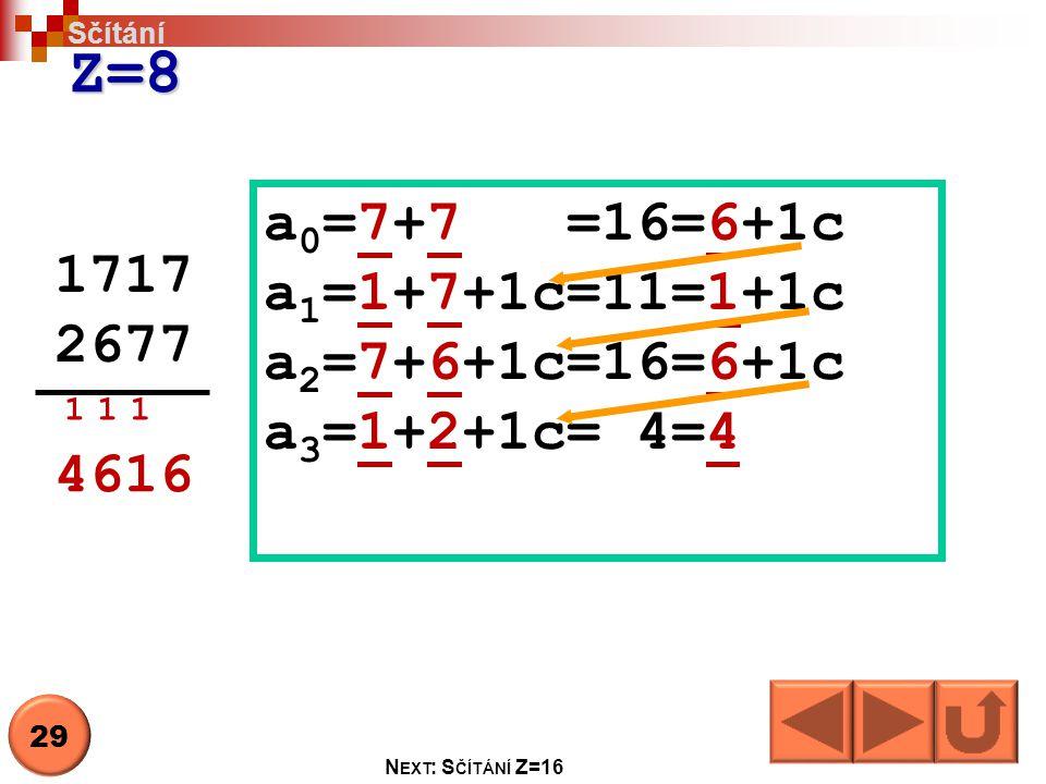 Z=8 a0=7+7 =16=6+1c a1=1+7+1c=11=1+1c 1717 a2=7+6+1c=16=6+1c 2677