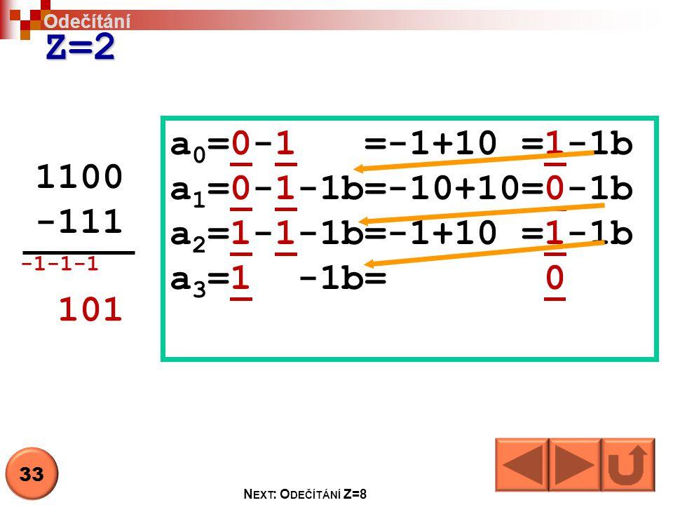 Z=2 a0=0-1 =-1+10 =1-1b a1=0-1-1b=-10+10=0-1b 1100