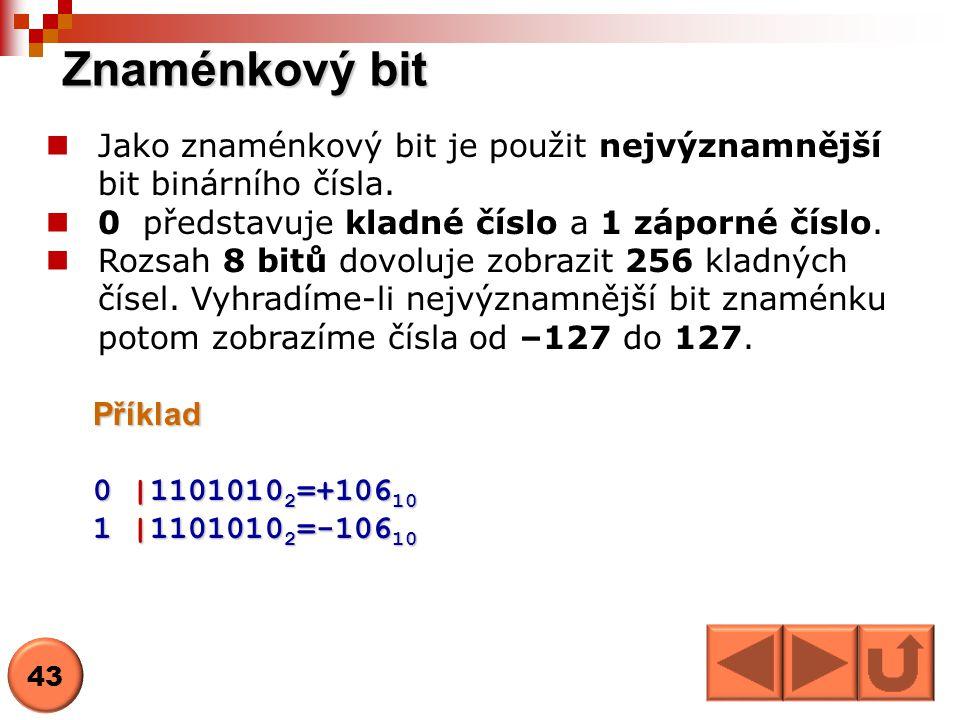 Znaménkový bit Jako znaménkový bit je použit nejvýznamnější bit binárního čísla. 0 představuje kladné číslo a 1 záporné číslo.