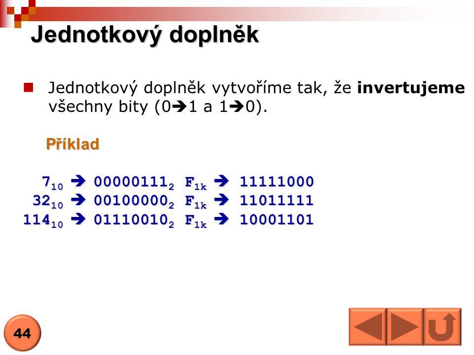 Jednotkový doplněk Jednotkový doplněk vytvoříme tak, že invertujeme všechny bity (01 a 10). Příklad.