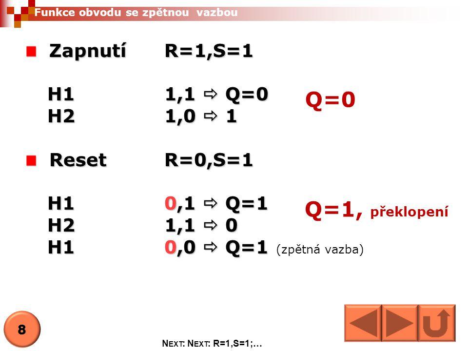 Q=0 Q=1, překlopení Zapnutí R=1,S=1 H1 1,1  Q=0 H2 1,0  1