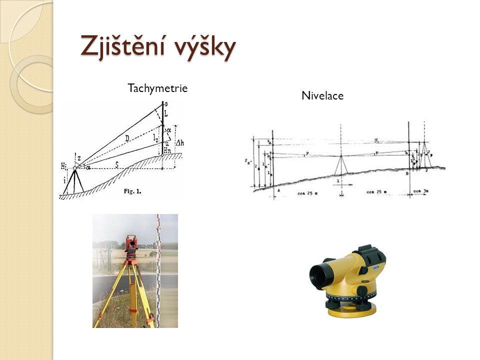 Zjištění výšky Tachymetrie Nivelace
