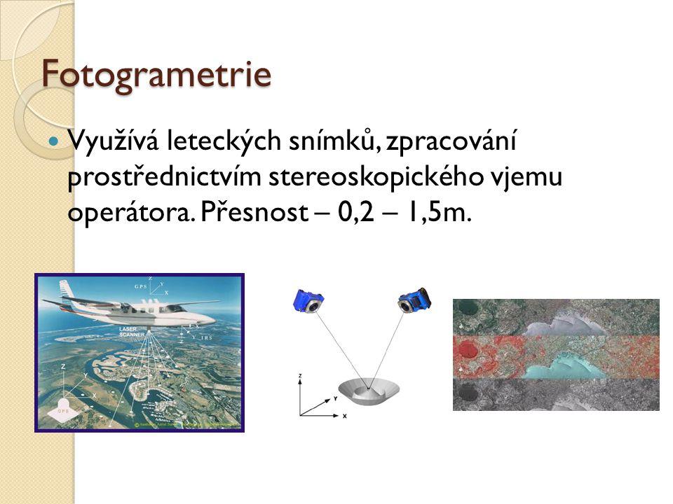 Fotogrametrie Využívá leteckých snímků, zpracování prostřednictvím stereoskopického vjemu operátora.