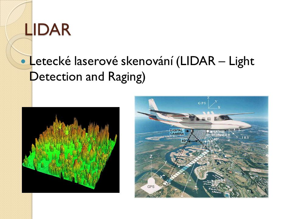 LIDAR Letecké laserové skenování (LIDAR – Light Detection and Raging)