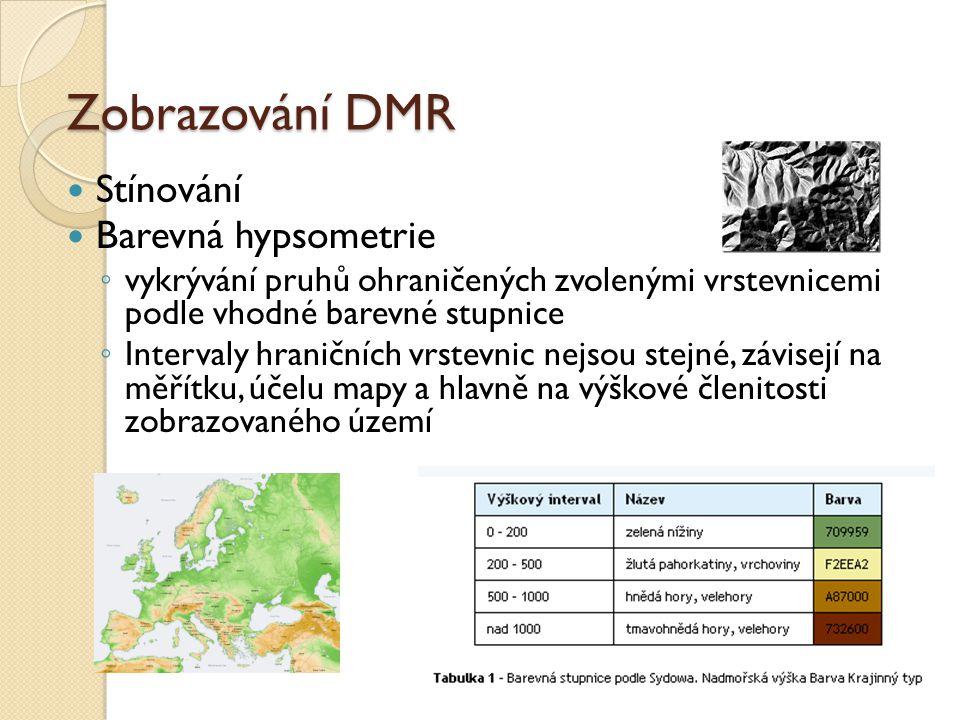 Zobrazování DMR Stínování Barevná hypsometrie