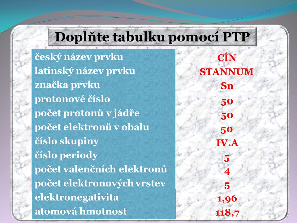 Doplňte tabulku pomocí PTP