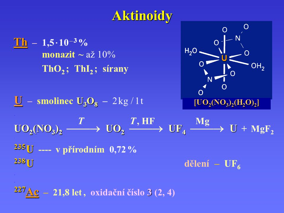 Aktinoidy U – smolinec U3O8 – 2 kg / 1 t Th – 1,5 · 10 – 3 %