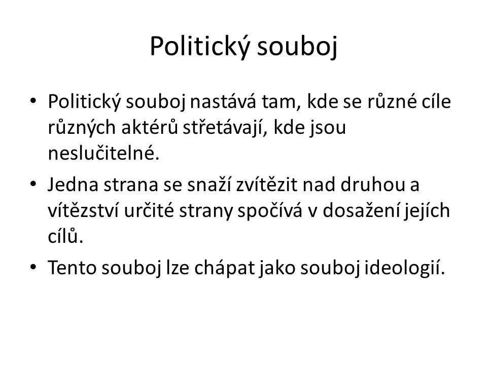Politický souboj Politický souboj nastává tam, kde se různé cíle různých aktérů střetávají, kde jsou neslučitelné.