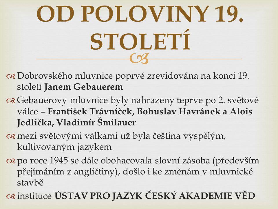 OD POLOVINY 19. STOLETÍ Dobrovského mluvnice poprvé zrevidována na konci 19. století Janem Gebauerem.