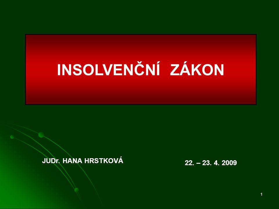 INSOLVENČNÍ ZÁKON JUDr. HANA HRSTKOVÁ 22. – 23. 4. 2009