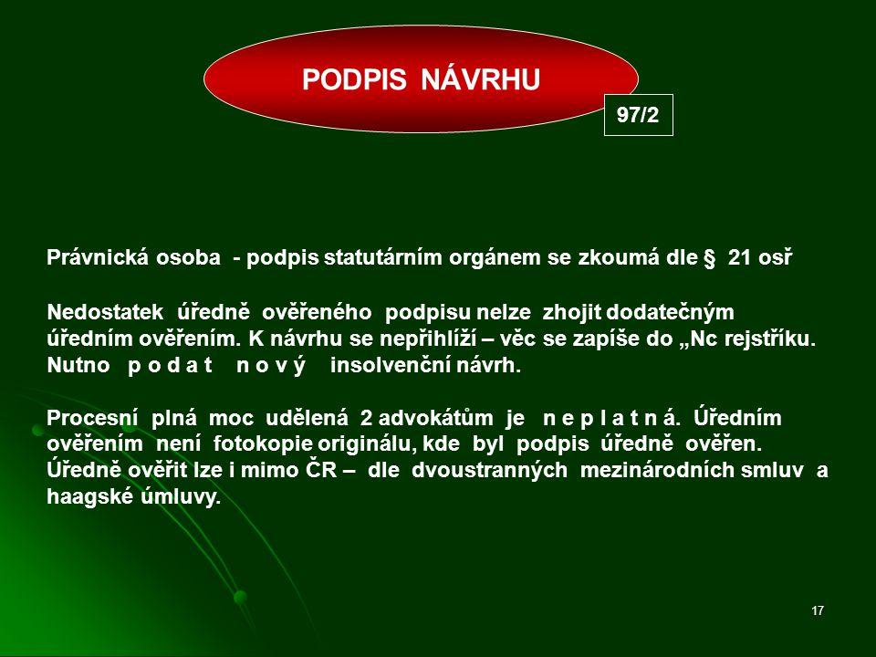 PODPIS NÁVRHU 97/2. Právnická osoba - podpis statutárním orgánem se zkoumá dle § 21 osř.