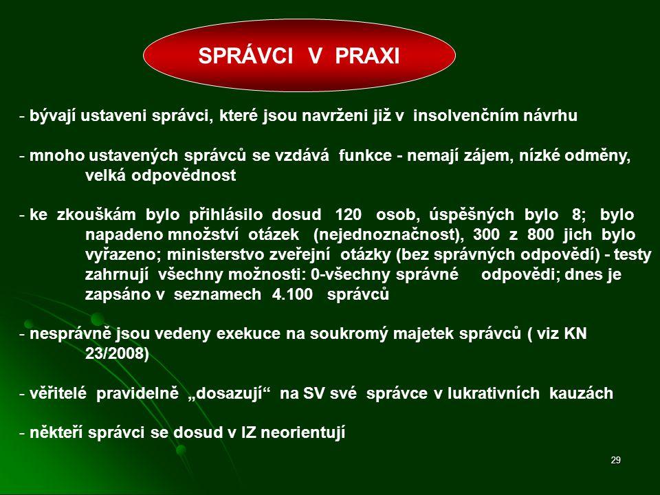 SPRÁVCI V PRAXI - bývají ustaveni správci, které jsou navrženi již v insolvenčním návrhu.