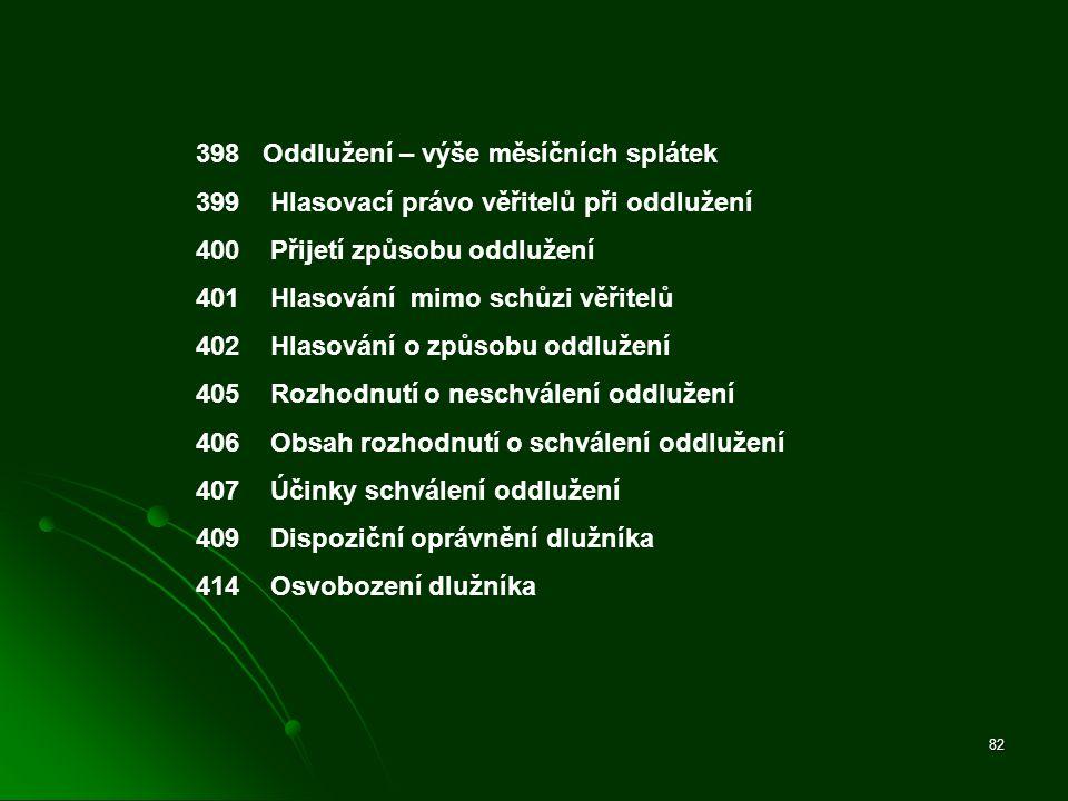 398 Oddlužení – výše měsíčních splátek